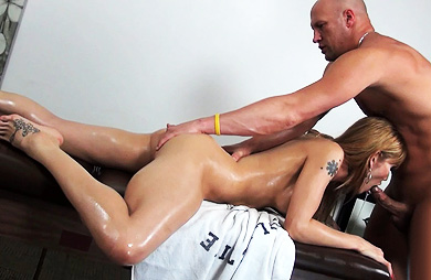 Eva and christian massage. Graceful Eva make love by the masseuse